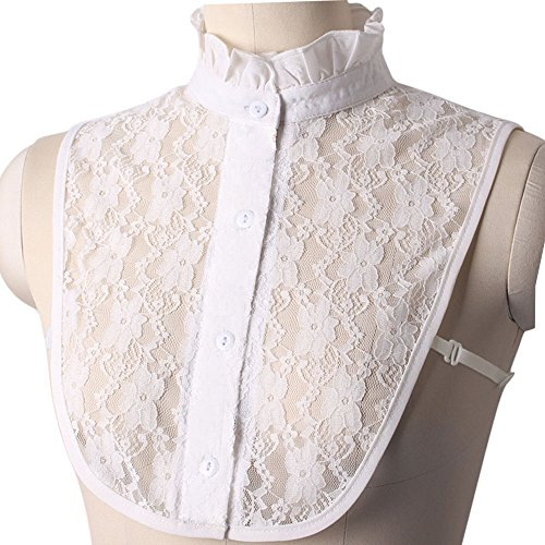 High Neck Collar - AORAEM Women's Lace Stand Vintage Detachable Fake Collar (White)