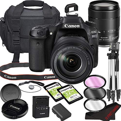 Canon EOS 80D DSLR Camera Bundle with 18-135mm USM Lens   Built-in Wi-Fi 24.2 MP CMOS Sensor    DIGIC 6 Image Processor and Full HD Videos + 64GB Memory(17pcs)