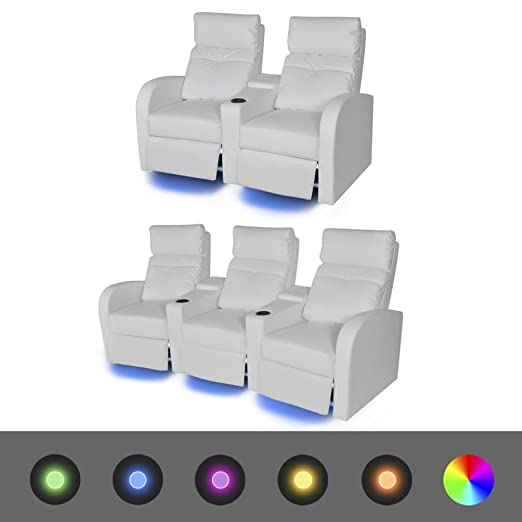 SENLUOWX Sillón de Cinema reclinable a 2 + 3posti con LED ...