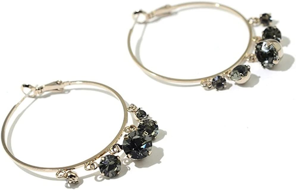 Fashion Lightweight Hoop Pendientes Diamante Círculo Pendientes Cumpleaños/Fiesta/Regalos de la joyería de la Navidad para Las Mujeres Adolescentes