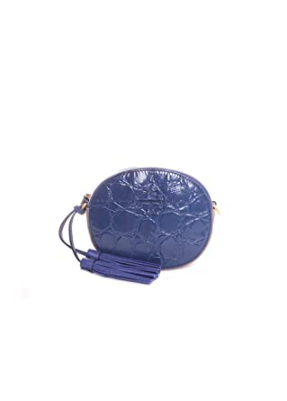 f5667bfc114b5 Image Unavailable. Image not available for. Color  Tory Burch McGraw  Embossed Crossbody in Navy Bright Indigo Silver Maple