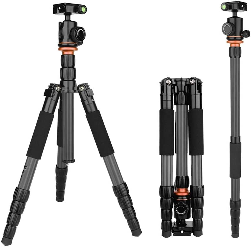 Suitable for Travel and Work EAHKGmh Carbon Fiber Camera Tripod Monopod with 360 Degree Ball Head 1//4 Inch Quick Shoe Plate Professional Tripod Load up to 5KG