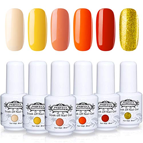Perfect Summer Gel Nail Polish - 6 Colors Gel Nail Varnish Soak Off UV LED Manicure Home Gel Manicure Yellow Orange Golden Glitter 8ML 118
