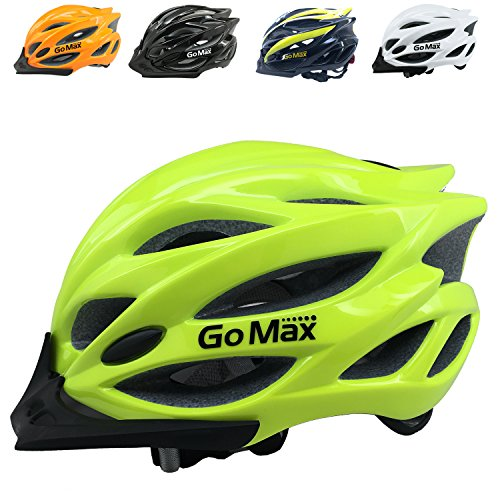 GoMax Aero Bike Helmet Bicycle Helmet Mountain Bike Helmet Adult Safety Helmet Adjustable Road Cycling Ultralight Inner Padding Chin Protector and visor w/ Adjust Dial also for Kids 12+