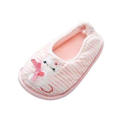AliveGOT Boys Girls Cotton Stripe Kitty Print Flat Shoes Unisex Kids Light Warm Household Slippe