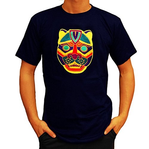 - ImZauberwald Maya Jaguar UV T-Shirt Blacklight Glowing Flower of Life