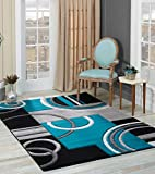 best colors for living room Golden Rugs Soft Hand Carved – Modern Contemporary Floor Rug with Premium Fluffy Texture for Indoor Living Dining Room and Bedroom Area (8x10, Black Turquoise)
