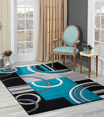 Golden Rugs Soft Hand Carved – Modern Contemporary Floor Rug with Premium Fluffy Texture for Indoor Living Dining Room and Bedroom Area (8x10, Black Turquoise)
