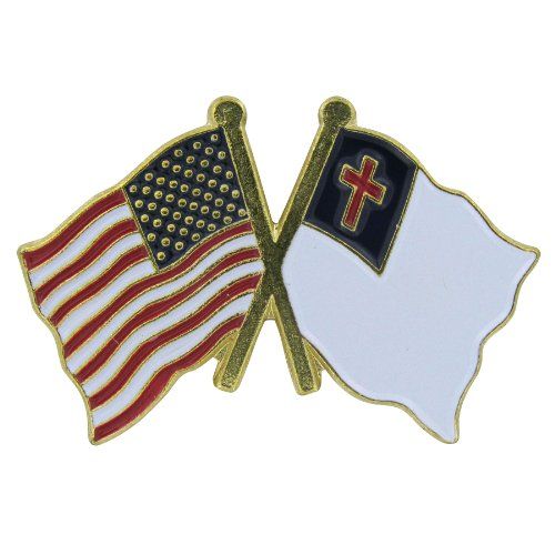 (US Flag Store Lapel Pin USA and Christian Flag )
