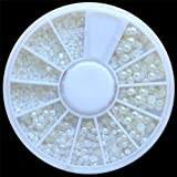 SODIAL(R) White Pearl Nail Art Stone Different Size Wheel Rhinestones Beads
