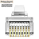 EZ RJ45 CAT6 Connector (50 PCS) Passthrough Connectors | High Performance Gold Plated 3 Micron 3u 3 Prong 8P8C 8 Pin (CAT6/50 Pieces)