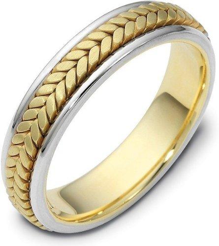 - 5mm 18 Karat Titanium & Yellow Gold Wedding Band Ring - 4.5