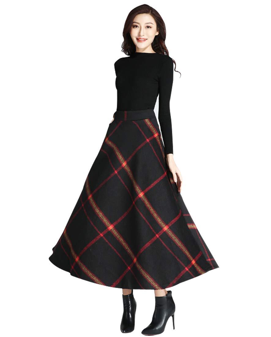 Wincolor Women's High Waisted Plaid Checked Woolen Blend A-line Long Tartan Skirt
