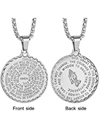 LAOYOU Men Christian Lord's Prayer Necklace,Stainless...
