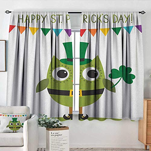 Home Decoration Thermal Insulated Curtains St. Patricks Day,Owl with Leprechaun Costume Greeting Design for Party Shamrock Pattern, Multicolor,for Bedroom,Nursery,Living Room 52