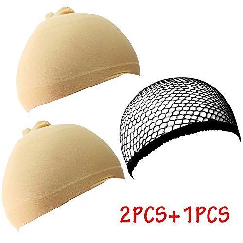 Brendacosmetic Pack of 3 Neutral Cool Mech Wig Cap and Nylon Wig Cap for Better Wearing Wig ,Stretch Cover Wig Cap for Protecting Head and Hair