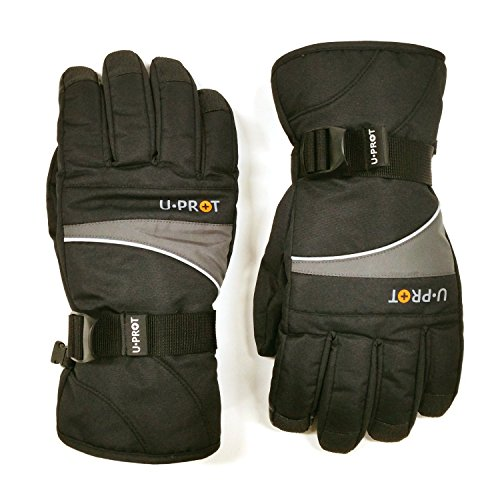 Men's Extreme Ski & Snowboard Gloves (BLACK, Medium (Asian Size : Large)) I Touchscreen Compatible I Ice Fishing, Skiing, Sledding, I For - Mall Millennial