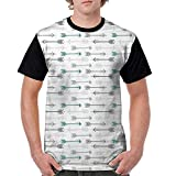 Men's Baseball Short Sleeves,Teal Decor,Retro Arrow Pattern in Horizontal Line Heading to Opposite Directions Artwork,Grey Teal White S-XXL Casual Blouses Baseball Tshirts Top