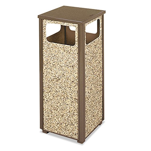 RUBBERMAID COMMERCIAL PRODUCTS WASTE RECEPTACLE 12GL BRN/DSRT BRN STONE PANEL R12-201PL