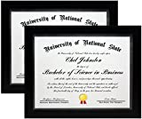 8.5x11 Black Gallery Certificate and Document Frame - Wide Molding - Includes both Attached Hanging Hardware and Desktop Easel - Certificates, Documents, a Diploma, or a Photo (8.5x11 2-Pack)