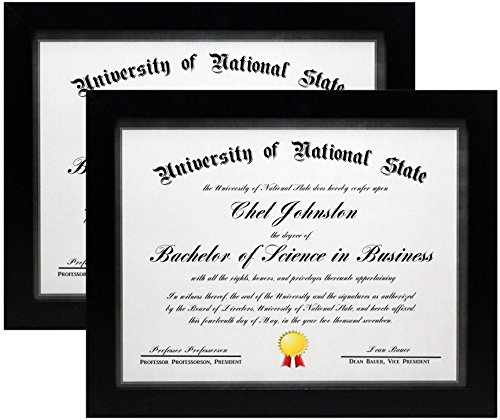 8.5x11 Black Gallery Certificate and Document Frame - Two Frames - Wide Molding - Includes Both Attached Hanging Hardware and Desktop Easel - Certificates, Documents, a Diploma, or a Photo (2-Pack)