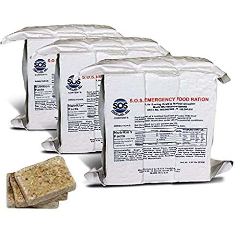 S.O.S. Rations Emergency 3600 Calorie Food Bar - 3 Day / 72 Hour Package with 5 Year Shelf Life- 3 - 3 Day Emergency Survival Kit