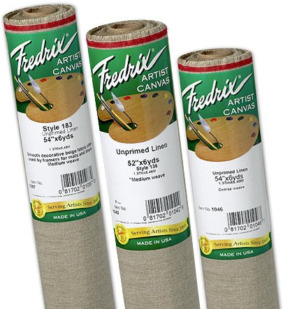 Fredrix Unprimed 138 Linen Coarse Roll: 3 yds. x 54'', 9 oz.