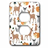 3dRose lsp_242313_6 Woodland Animals Pattern, Fawn Fox Raccoon Rabbit Plug Outlet Cover