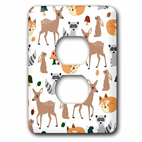 3dRose lsp_242313_6 Woodland Animals Pattern, Fawn Fox Raccoon Rabbit Plug Outlet - Woodland Outlet