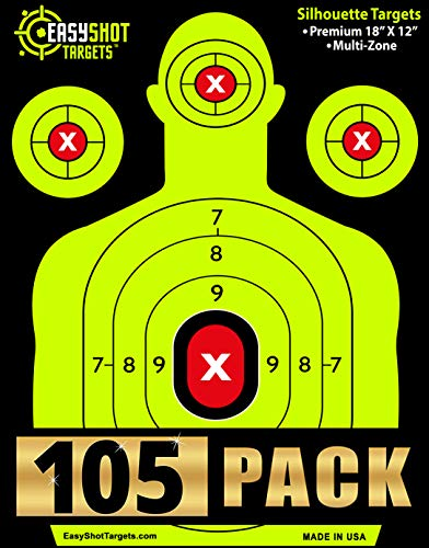 EasyShot Shooting Targets 105-Pack 18 X 12 inch. Shots are Easy to See with Our High-Vis Neon Yellow & Red Colors. Thick Silhouette Paper Sheets for Pistols, Rifles, BB Guns, Airsoft and More.