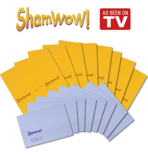 The Original Shamwow - Super Absorbent Multi-purpose Cleaning Towel Cloth, Machine Washable, Will Not Scratch (8 Orange, 8 Blue)