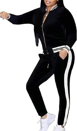 Sodossny-AU Womens Velour Tracksuit Set Soft Jacket and Sweatpants 2 Pieces Set