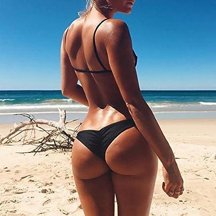 Tuopuda Bikinihose Damen Bikini Tanga Schwarz Brazilian Slip Bikini Unterteil String