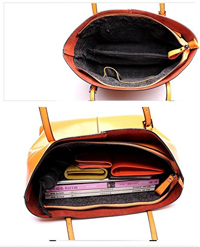 leather PU Briefcase ways Shoulder Bag fashion Tote Vintage Purse leather wax Orange Tablet Satchel Orange Bags ncient Bag Leather Soft oil Bag Handbag Genuine iPad Leather Hand 5aXEqq7nf
