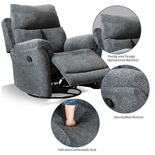 Living Room ANJ Swivel Rocker Fabric Recliner Chair – Reclining Chair Manual, Single Modern Sofa Home Theater Seating for Living…