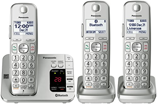 Panasonic PANASONIC Link2Cell Bluetooth Cordless Phone with Answering Machine KX-TGE463S - 3 Handsets (Silver) - Panasonic Blue Telephone