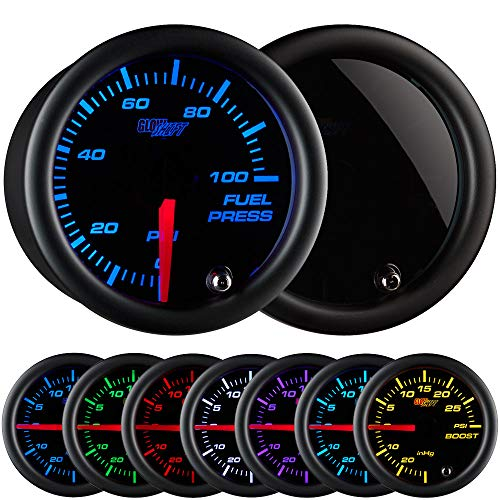 GlowShift Tinted 7 Color 100 PSI Fuel Pressure Gauge Kit - Includes Electronic Sensor - Black Dial - Smoked Lens - For Car & Truck - 2-1/16