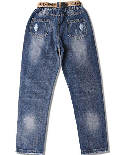 WIYOSHY Girls Skinny Ripped Elastic Pull On Denim Jeans Belt Age 5-14 Years (Blue, 7/8 (140)) by WIYOSHY (Image #1)