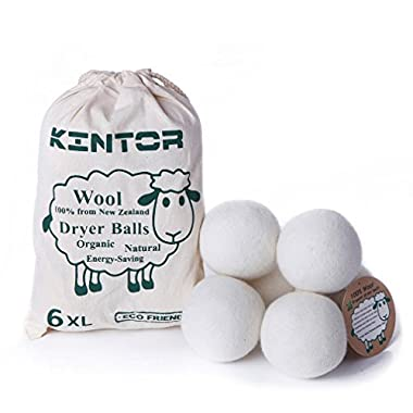 Wool Dryer Balls XL 6 Pack 2.95 , 100% Organic New Zealand Natural Fabric Softener, Hypoallergenic Baby Safe & Unscented, Reduce Wrinkles & Static Cling, Shorten Drying Time by Kintor