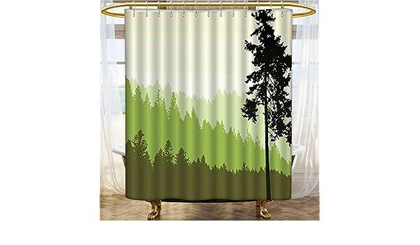 AmaPark - Cortina de Ducha de Tela Lavable, diseño de árbol de Pino Sobre un Fondo Verde Lima y Verde Militar, Impermeable, nail4on, Suave como la Seda, Resistente al Moho, 91,4 x
