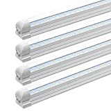 8FT LED Shop Lights Fixture - 72W, 7200LM, 6000K Cool White, Flat Dual Row T8 Integrated LED Tube Strip Lights, High Output Bulb for Garage, Warehouse, Workshop, Basement, Clear, Linkable (4-Pack)