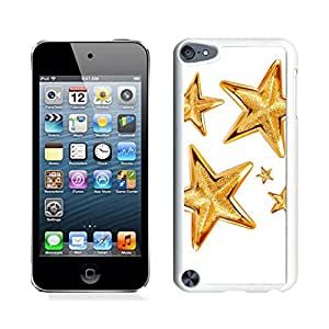 Ipod 5 Cases,Golden Christmas Tree Decoration Stars White Hard Shell Plastic Apple Ipod Touch 5th Cases