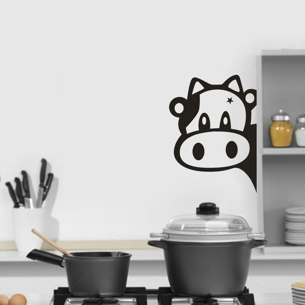 Quaanti Wall Sticker Animal Cow Stickers for Kids Rooms Plane Kitchen Refrigerator Removable Art Vinyl Mural Home Room Decor (Black)
