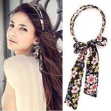 XDOBO Women's Fashion Ribbon Bandana Hair Accessory Cute Pattern Elastic Rear