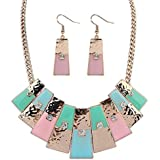 TEKIMBE New Punk Choker Crystal Clavicle Necklace Geometric Statement Necklace Earrings Sets