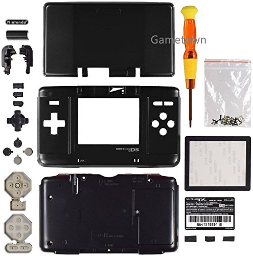 New Full Housing Shell Cover Case with Buttons for Nintendo DS NDS Console - Black. (Housing Full Faceplate Lens)