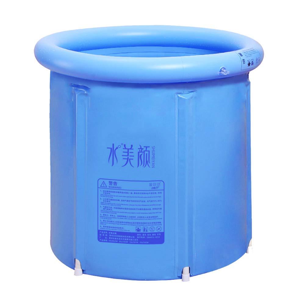 Youdepot Inflatable Portable Plastic Bathtub,PVC Bath Tub Portable Soaking Tub Inflatable Spa For Adult Bathroom With Air Pump Blue Large