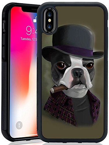 iPhone X iPhone 10 Case Anti-Scratch & Protective Cover for iPhone X iPhone 10 Bowler Hat Terrier with Cigar TPU and PC Phone Case