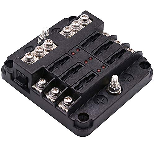 - 6-Way Fuse Block W/Negative Bus - WUPP ATC/ATO Fuse Box with LED Warning Indicator & Durable Protection Cover for Automotive Car Boat Marine RV Truck DC 12-24V, Fuses Not Included