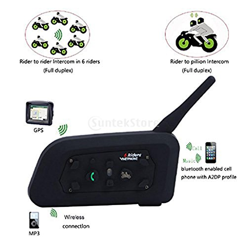 Dovewill 2 Packs Vnetphone V6 BT 1.2KM Wireless Motorcycle Helmet Bluetooth 3.0 Intercom Headset Motorbike Interphone Connect Up to 6 Riders by Dovewill (Image #2)